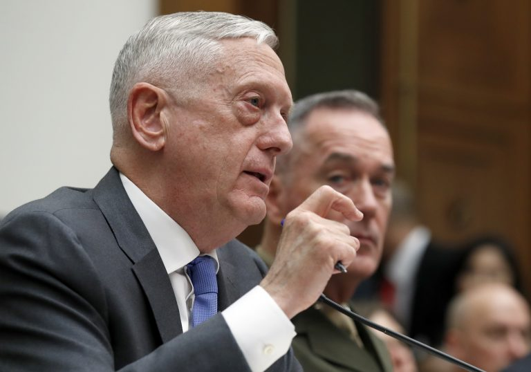 Defense Secretary Jim Mattis, left, with Joint Chiefs Chairman Gen. Joseph Dunford, testify on the FY2019 budget during a hearing of the House Armed Services Committee on Capitol Hill, Thursday, April 12, 2018 in Washington. (Alex Brandon/AP Photo)