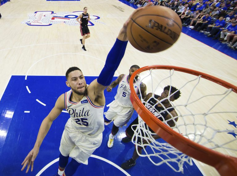 f9d0ace6c Philadelphia 76ers  rookie star Ben Simmons dunks the ball during the first  half in Game 1 of a first-round NBA basketball playoff series against the  Miami ...
