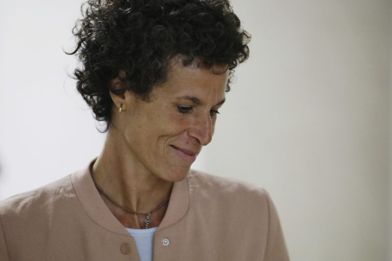 Andrea Constand arrives to resume her testimony during Bill Cosby's sexual assault retrial at the Montgomery County Courthouse in Norristown, Pa., Monday, April 16, 2018.