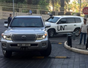 In this Saturday, April 14, 2018 file photo, UN vehicles carrying the team of the Organization for the Prohibition of Chemical Weapons (OPCW), arrive at hotel hours after the U.S., France and Britian launched an attack on Syrian facilities for suspected chemical attack against civilians, in Damascus, Syria. The OPCW has been thrust once again into the international limelight by a nerve agent attack on a former Russian spy in Britain and allegations of a chemical bombardment on the Syrian city of Douma. It is now attempting to investigate, but its experts have not yet been able to visit the scene. (Bassem Mroue/AP Photo, File)