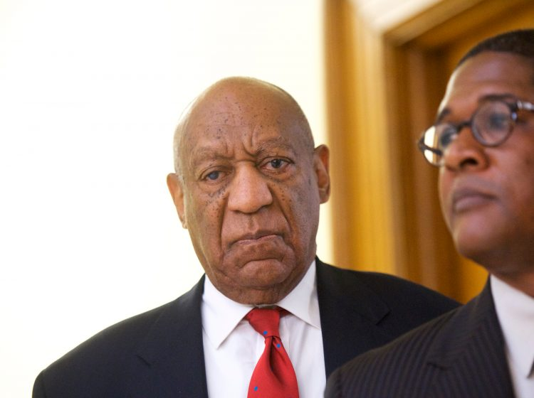 Actor and comedian Bill Cosby reacts while being notified a verdict was in in his sexual assault retrial, Thursday, April, 26, 2018, at the Montgomery County Courthouse in Norristown, Pa. A jury convicted the