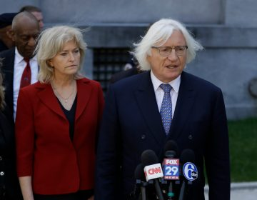 Attorneys Tom Mesereau, (right), and Kathleen Bliss talk to the media after Bill Cosby's sexual assault trial, Thursday, April 26, 2018, at the Montgomery County Courthouse in Norristown, Pa. (Matt Slocum/AP Photo)