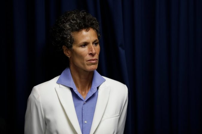 Bill Cosby accuser Andrea Constand listens during a news conference after Cosby was found guilty in his sexual assault trial, Thursday, April 26, 2018, in Norristown, Pa. (AP Photo/Matt Slocum)