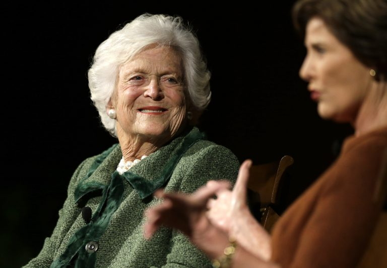 A family spokesperson announced Sunday that the former first lady Barbara Bush is in failing health. In this Thursday, Nov. 15, 2012, photo, she is pictured with daughter-in-law and and former first lady, Laura Bush. (David J. Phillip/AP Photo)