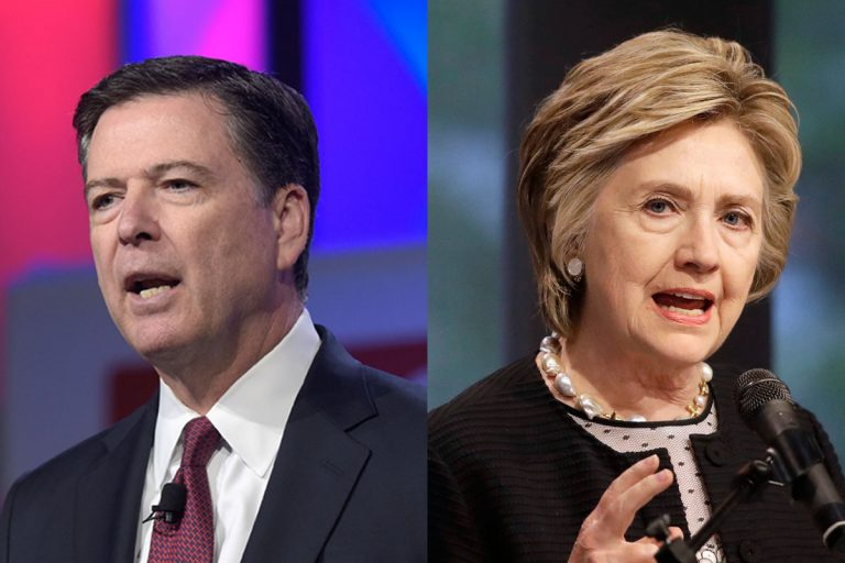 Former FBI Director James Comey and former Secretary of State Hillary Clinton (Susan Walsh and Patrick Semansky AP Photos)