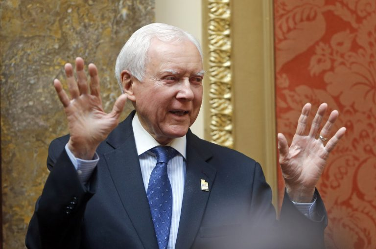 Sen. Orrin Hatch, R-Utah, gestures to the Utah House during a visit Wednesday, Feb. 21, 2018, at the Utah State Capitol, in Salt Lake City. Utah's Legislature unanimously passed a resolution Wednesday honoring retiring Hatch. The resolution declared the day