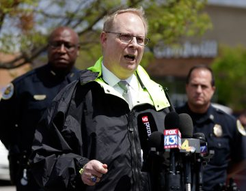 Don Aaron, public affairs manager for the Metro Nashville Police Department, speaks at a news conference Monday, April 23, 2018, in Nashville, Tenn., regarding the search for a gunman who opened fire Sunday at a Waffle House restaurant. A suspect police have identified as 29-year-old Travis Reinking shot and killed at least four people at the restaurant. (Mark Humphrey/AP Photo)