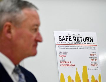Mayor Jim Kenney joins judicial leadership at the introduction for Philadelphia Safe Return, at Enon Tabernacle Baptist Church, on Wednesday April 25, 2018. (Bastiaan Slabbers for WHYY)