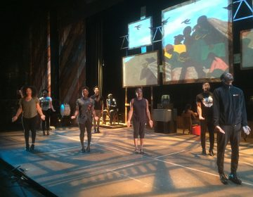"""Step Afrika! rehearses for its production """"The Migration: Reflections on Jacob Lawrence."""" (Zoe Read/WHYY)"""