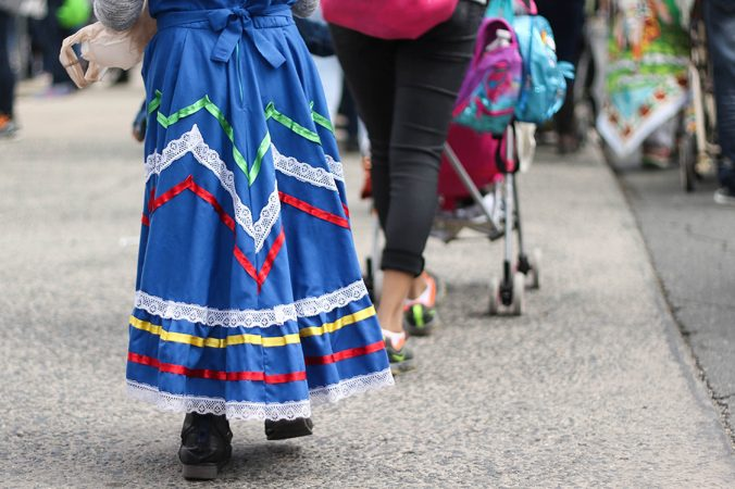 Men, women and children march in the festival, which originates in the Mexican state of Puebla. (Angela Gervasi for WHYY)