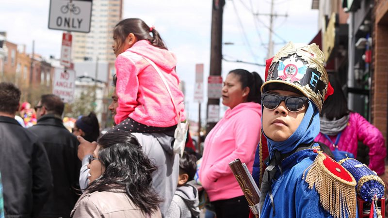 El Carnaval de Puebla, a huge street festival, takes place in the Italian Market section of South Philadelphia, which houses a growing Latino population. (Angela Gervasi for WHYY)