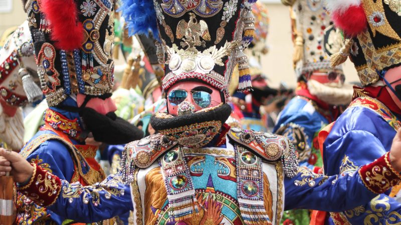 The elaborate costumes of the annual Carnaval de Puebla draw comparisons to the Mummers. (Angela Gervasi for WHYY)