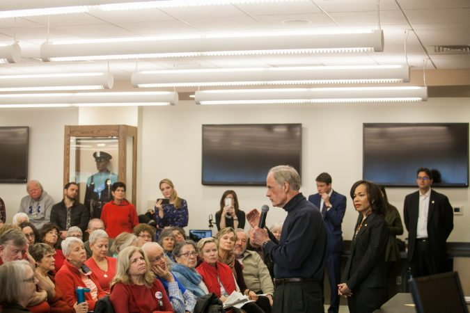 U.S Sen. Tom Carper and U.S Rep. Lisa Blunt Rochester (both D-Del.) lead a town hall on guns and gun violence in New Castle, Del., Saturday morning. (Brad Larrison for WHYY)