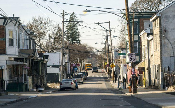 Homes near Wister Elementary School in East Germantown. (Jessica Kourkounis/WHYY)