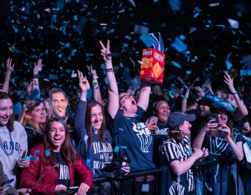 Villanova students celebrates as the men's basketball team wins the NCAA championship. (Branden Eastwood for WHYY)