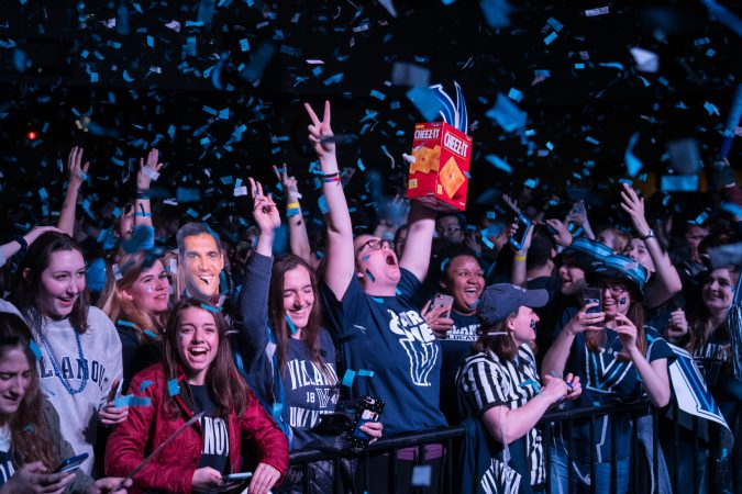Villanova students celebrates as the men's basketball team wins the NCAA championship. (Branden Eastwood for WHYY)