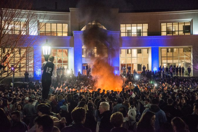 Villanova studetns celebrate the men's basketball team victory in the NCAA championship. (Branden Eastwood for WHYY)