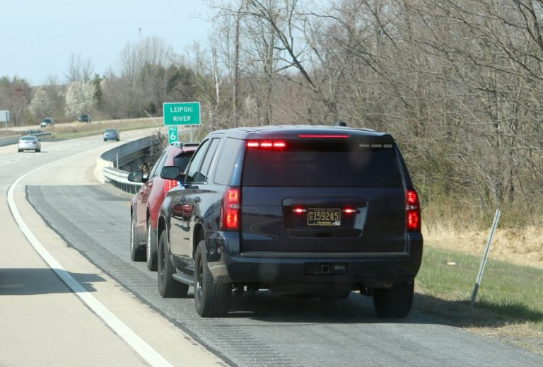 Delaware State Police Cpl. Chris Garcia pulls over a car Thursday on Del. 1 in Kent County after a DSP spotter saw the driver talking on his cellphone without a hands-free device. (Provided)
