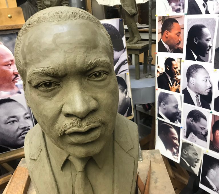 A sculpture of Martin Luther King Jr. by Zenos Frudakis is destined for a sculpture garden where it will join likenesses of Nelson Mandela and Mahatma Gandhi. (Scott Grote/WHYY)