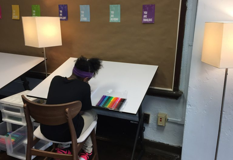 "Students at Tilden Middle School using the new ""calming room."" (Dana Bate for WHYY)"