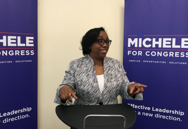 Congressional candidate Michele Lawrence speaks to supporters at her campaign headquarters. (Dave Davies/WHYY)