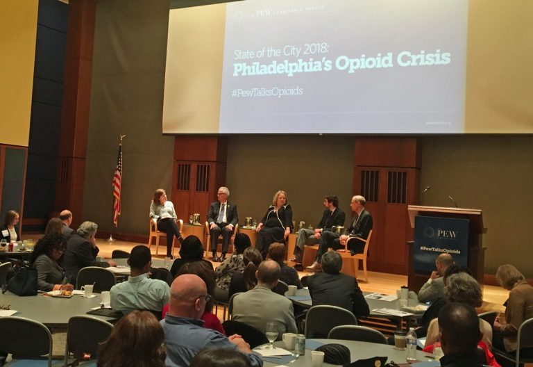 A panel talk on Philadelphia's opioid crisis featured (from left) Maiken Scott, moderator and host of WHYY's The Pulse; Michael McMahon, district attorney of Richmond County (Staten Island), New York; Cynthia Reilly, director of Pew's substance use prevention and treatment initiative; Evan Behrle, special adviser for opioid policy at Baltimore City's Health Department; Thomas Farley, Philadelphia's health commissioner. (Elana Gordon/WHYY)