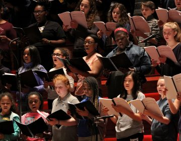 The Westminster Symphonic Choir, the Keystone State Boychoir, the Pennsylvania Girlchoir, and the Sister Cities Girlchoir, perform with the Philadelphia Orchestra.