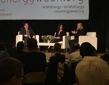 San Juan Mayor Carmen Yulín Cruz, (right), of Puerto Rico speaks on a panel at Carnegie Mellon University alongside Pittsburgh Mayor Bill Peduto and CMU Interim Provost Laurie Weingart. (Amy Sisk/StateImpact Pennsylvania)