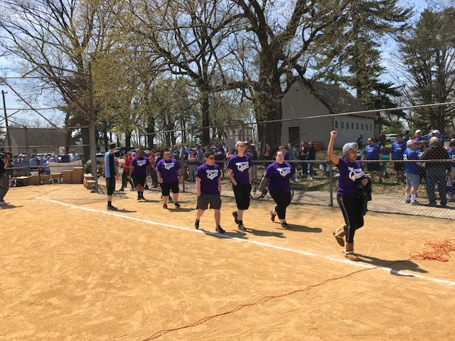 The Bad News Queers, one of 30 teams in the City of Brotherly Love Softball League, take the field in Philadelphia's Fairmount Park. (Shai Ben-Yaacov/WHYY)