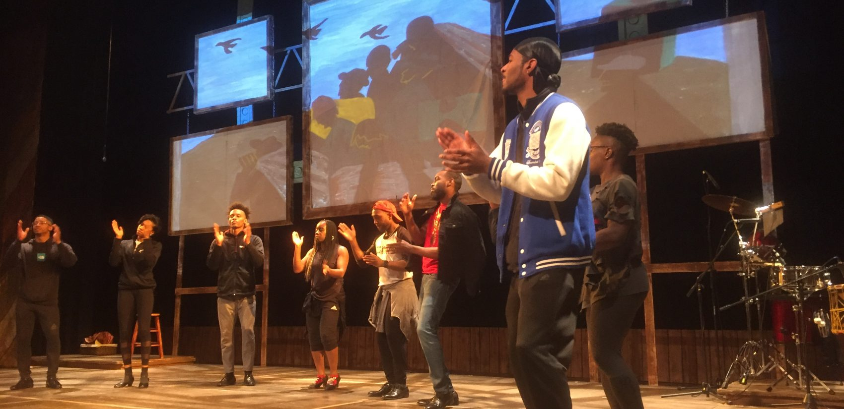Step Afrika! rehearses for its performance in Wilmington. (Zoe Read/WHYY)