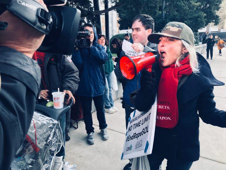 Activist Bird Milliken shouts