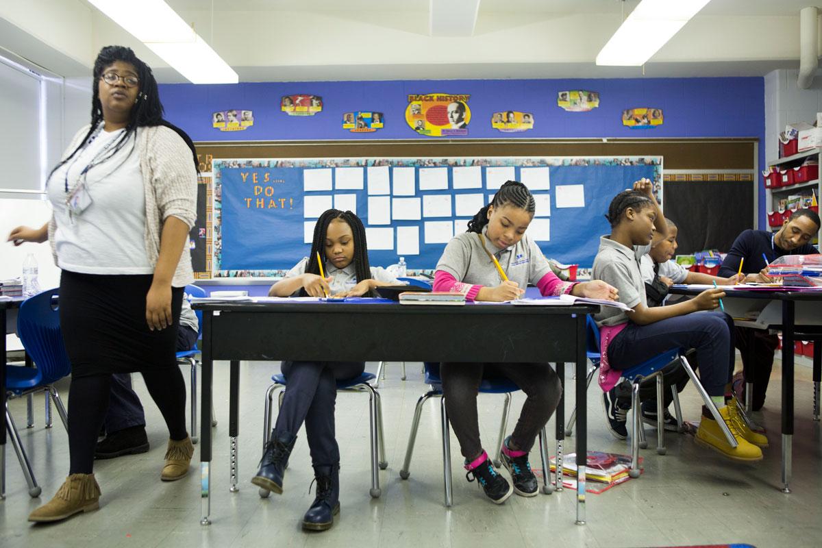 Timeeka Benjamin (left) replaced Nate Higgins as Wister's fifth-grade math teacher. (Jessica Kourkounis/WHYY)