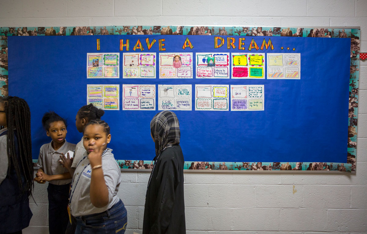 Students at Wister Elementary (Jessica Kourkounis/WHYY)