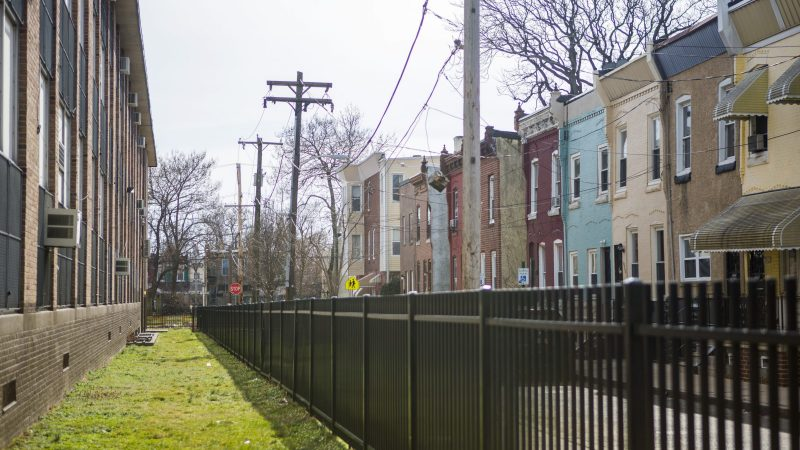 Blaine Elementary School (left) is directly across the street from Jovan's former home. (Jessica Kourkounis/WHYY)