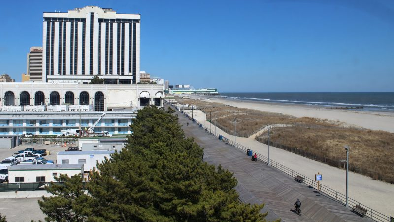 The view from a dorm room on Stockton's Atlantic City campus. (Bill Barlow for WHYY)