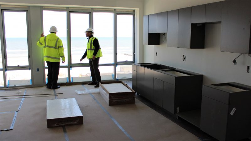 The future kitchen inside one of the new dorms at Stockton University in Atlantic City. (Bill Barlow/ for WHYY)