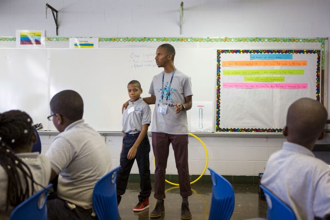 Bahir Hayes was selected by Jovan to be the fifth-grade teacher leader. (Jessica Kourkounis/WHYY)
