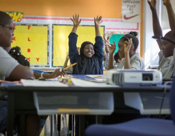 Students in Bahir Hayes' fifth-grade English class. (Jessica Kourkounis/WHYY)
