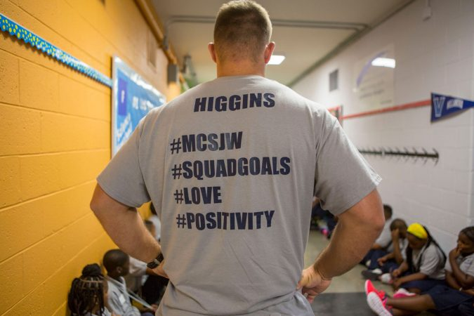 Nate Higgins sporting a custom-made Mastery at Wister t-shirt. (Jessica Kourkounis/WHYY)