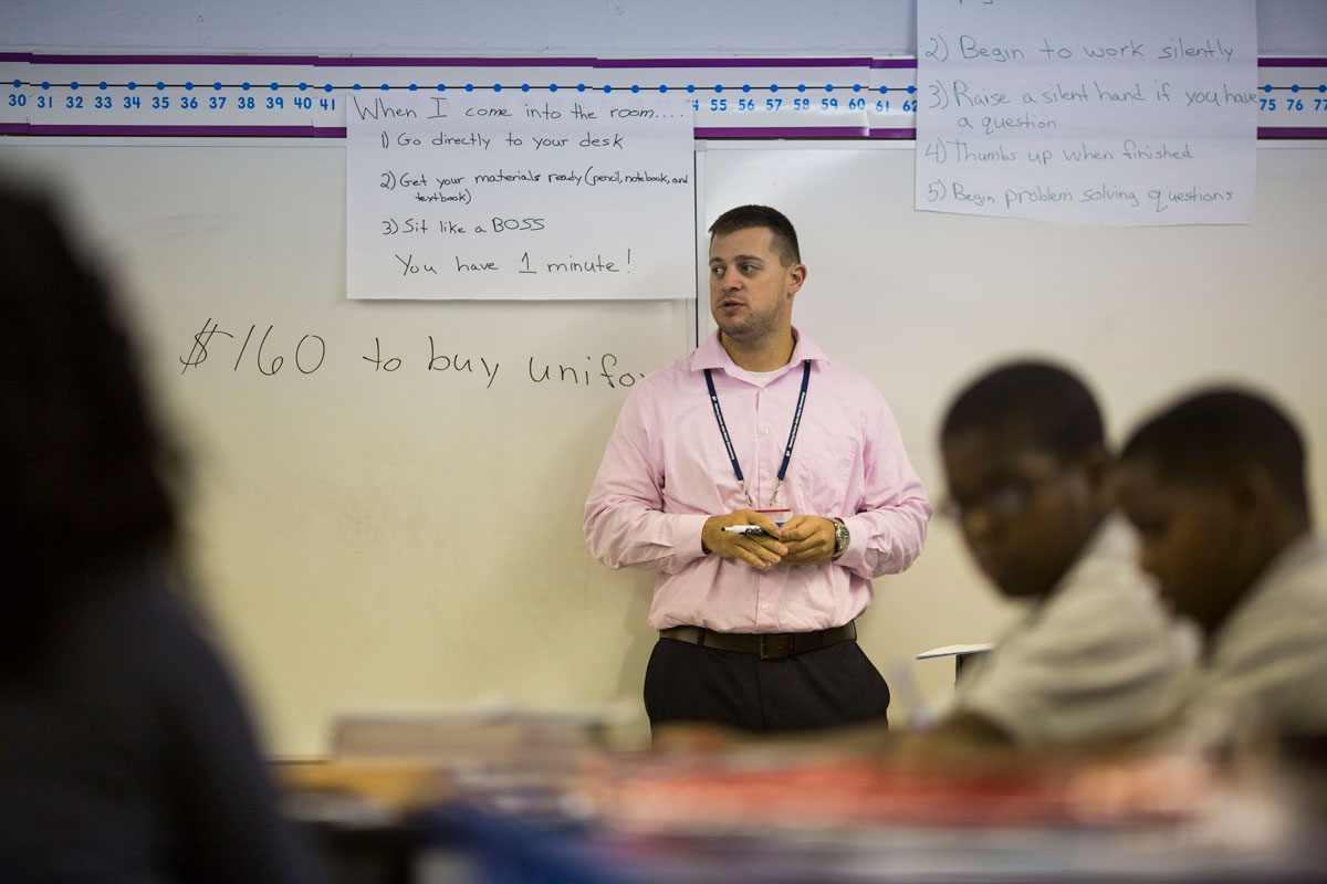 Nate Higgins, who left a career in financial planning, became Wister's fifth-grade math teacher for the 2016-17 school year. (Jessica Kourkounis/WHYY)