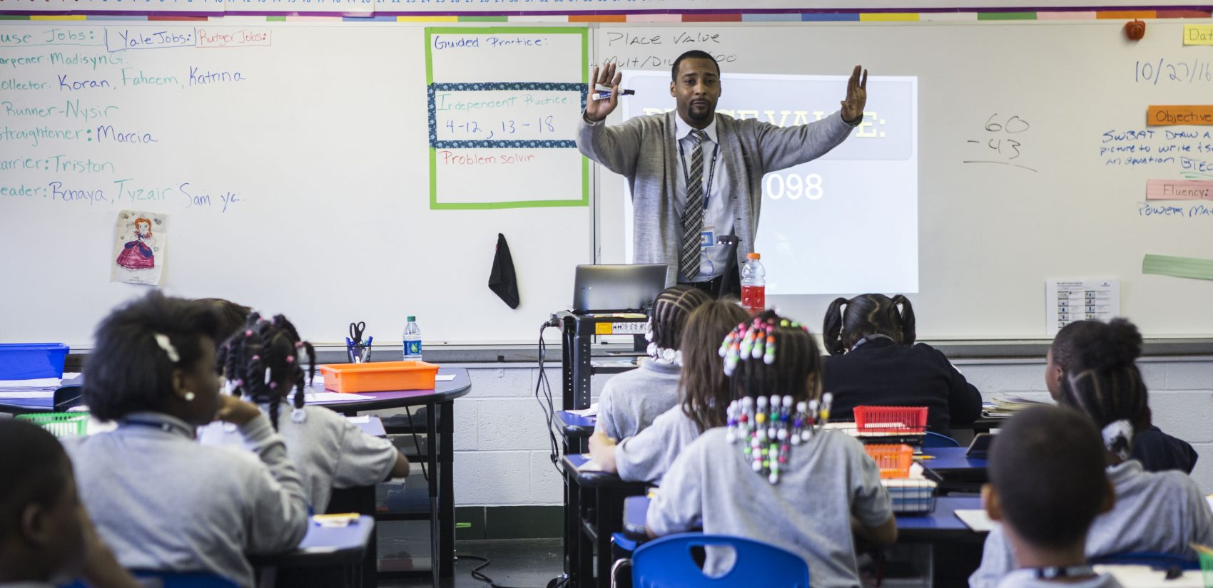 Jovan, who started his career in education as a math teacher, took over the fourth-grade math class for a struggling teacher. (Jessica Kourkounis/WHYY)