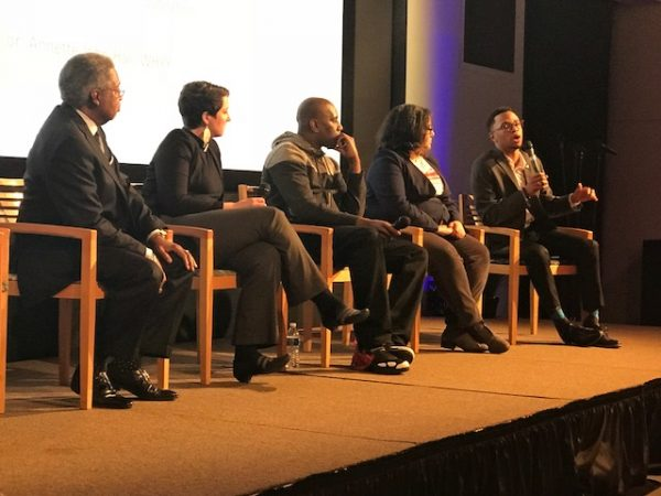 Tamir Harper, Founder of UrbEd speaks during the panel discussion. (Sandra Clark/WHYY)