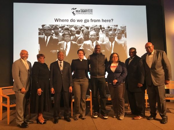 From left, Rev. Steven Lawrence and Rev. Marsha Woodard of NewCORE; panelists Rev. J. Wendell Mapson, Rev Abbey Tennis, Asa Khalif and Nijme Dzurinko, and Rev. Charles McNeil and Rev. Malcom Byrd of NewCORE. (Sandra Clark/WHYY)