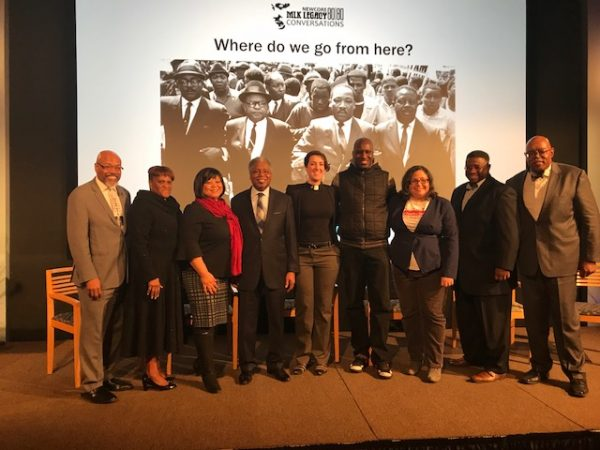 (From left) Rev. Steven Lawrence and Rev. Marsha Woodard of NewCORE; Sandra Clark WHYY Vice President for News and Civic Dialogue; panelists Rev. J. Wendell Mapson, Rev Abbey Tennis, Asa Khalif and Nijme Dzurinko, and Rev. Charles McNeil and Rev. Malcom Byrd of NewCORE.