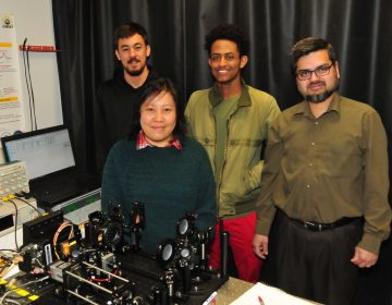 DSU researchers Caio Azevedo, a junior from Brazil; May Hlaing, a doctoral student from Myanmar; Luil Menberu, a sophomore from Ethiopia; and Dr. Mohammad Khan will develop a chemical weapon sensing laser with grant funds from the Department of Defense. (Courtesy DSU)