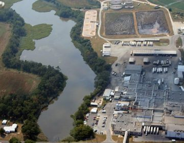An aerial image of Mountaire's Millsboro facility is included in the Delaware Center for the Inland Bays report about water contamination caused by the facility. (photo courtesy Delaware Center for the Inland Bays)