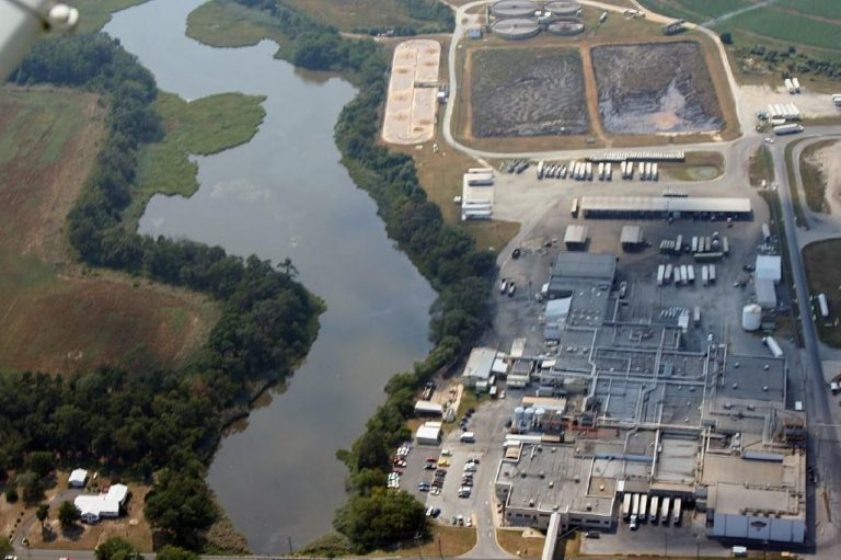 An aerial image of Mountaire's Millsboro facility is included in the Delaware Center for the Inland Bays report about water contamination caused by the facility. (Courtesy Delaware Center for the Inland Bays)