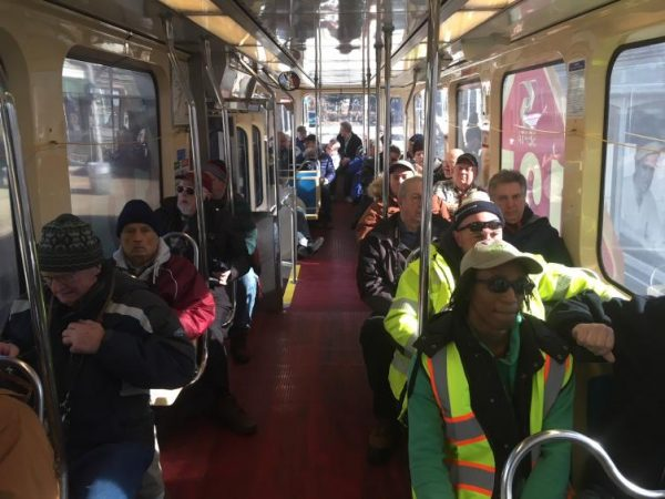 The trolley was mostly full for the 25th Super Saturday Streetcar Special.