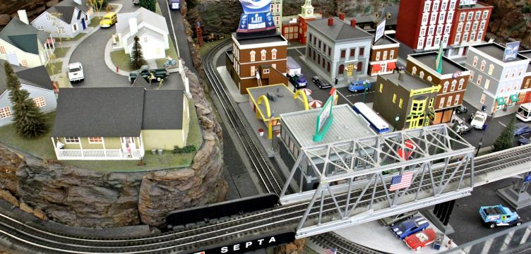 Model train displays on display at SEPTA's gift shop
