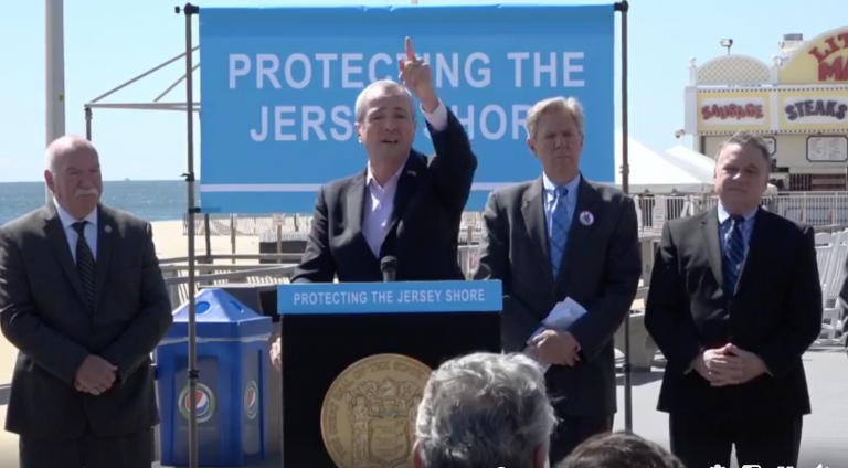 N.J. Gov. Phil Murphy speaks about the drilling ban bill signing on the Point Pleasant Beach boardwalk Friday. (Governor Phil Murphy/Facebook)